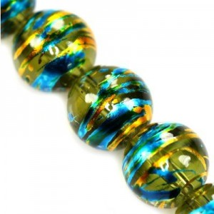 Cosmic Round Emerald w Gold 10mm ~86τεμ