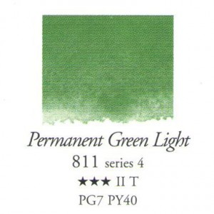 Χρώμα Ακουαρέλας Sennelier Half Pan -  811 Permanent Green Light
