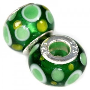 Χάντρα Modular Green Dots 9x14mm - 5τεμ