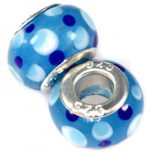 Χάντρα Modular Blue Dots 9x14mm - 5τεμ