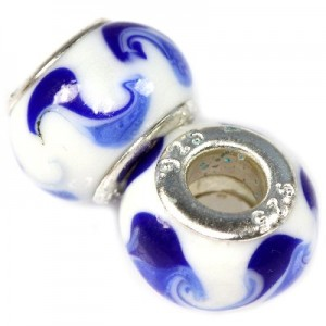 Χάντρα Modular White/Indigo/Blue 9x14mm - 5τεμ