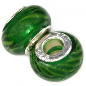 Χάντρα Modular Zebra Emerald 9x14mm - 5τεμ