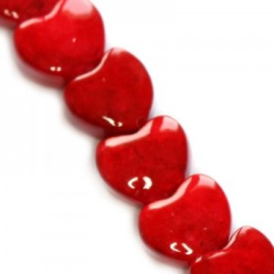 Marble Dyed Heart Red 6mm ~40τεμ