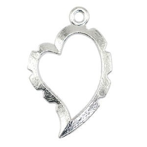Artistic Wire Wrapper - Curved Heart Silver Plated Color Εσωτ.10.5x15.72mm - 5τεμ