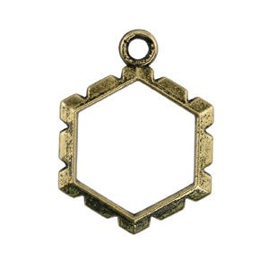Artistic Wire Wrapper - Hexagon Antique Brass Color Εσωτ.14.4x15.8mm - 5τεμ