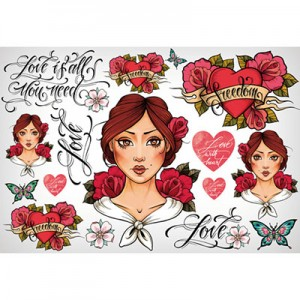 Ριζόχαρτο Stamperia - Love Is All You Need Tattoo - 48x33cm