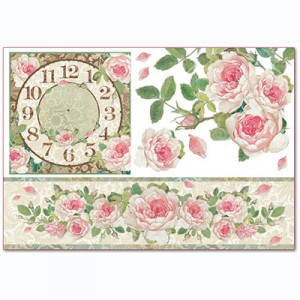 Ριζόχαρτο Stamperia - Clock with Border of Roses - 48x33cm
