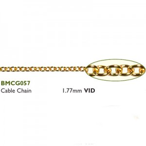 Αλυσίδα Cable 1.77mm Gold Plated ~ 0.5m