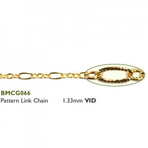 Αλυσίδα Pattern Link 1.33mm Gold Plated ~ 0.5m