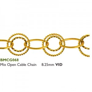 Αλυσίδα Mix Open Cable 8.25mm Gold Plated-Επίχρυση- M 0.5m