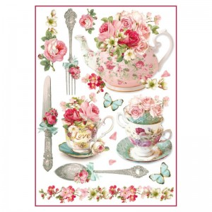 Stamperia Ριζόχαρτο για Decoupage - Flowered Teapots & Cups - A4