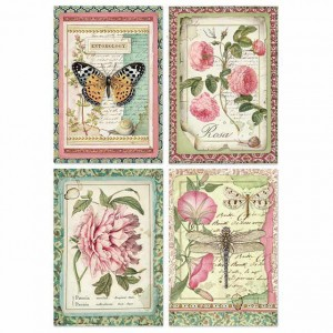 Stamperia Ριζόχαρτο για Decoupage - Botanic Flower Cards - A4