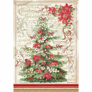 Stamperia Ριζόχαρτο για Decoupage - Christmas Greetings Τree - A4