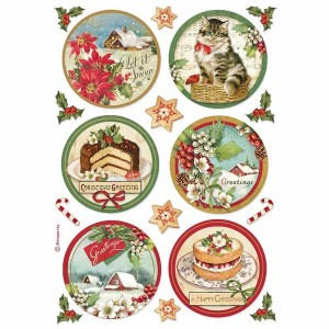 Stamperia Ριζόχαρτο για Decoupage - Happy Christmas Round - A4