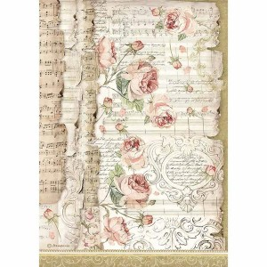 Stamperia Ριζόχαρτο για Decoupage - Roses and Music - A4