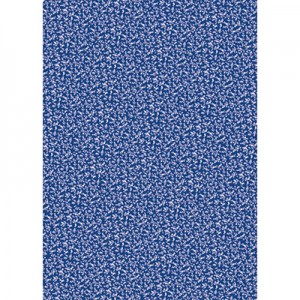 Φύλλo Polyester Felt - 50x70cm - British Blue Backgroung w White Flowers - 1mm - 1τεμ