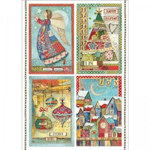 Stamperia Ριζόχαρτο για Decoupage - Patchwork Postcards - A4