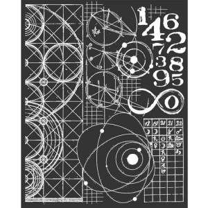Stencil Stamperia Mixed Media - 20x25cm - Cosmos Astronomy And Numbers