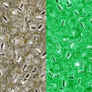Toho® Χάντρα Round 11/0 - Crystal Silver Lined/Glow Green ~10gr