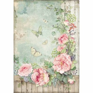 Stamperia Ριζόχαρτο για Decoupage - Roses garden with fence - A4