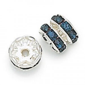 Rhinestone Rondelle Capri Blue on Silver 8mm 6τεμ