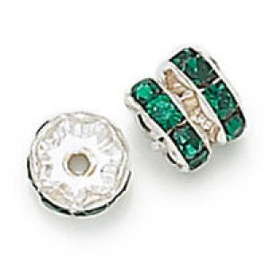 Rhinestone Rondelle Emerald on Silver 8mm - 6τεμ