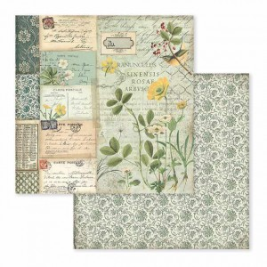Χαρτί Scrapbooking Stamperia Διπλής Όψης - Spring Botanic Yellow Alpine Poppy - 31x30cm