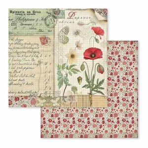 Χαρτί Scrapbooking Stamperia Διπλής Όψης - Spring Botanic Poppy And Butterfly - 31x30cm