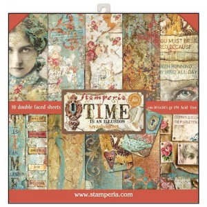 Σετ 10 Χαρτιά Scrapbooking Stamperia Διπλής Όψης - Time is an Illusion - 30x30cm