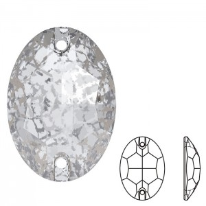 Swarovski 3210 Sew-On Oval Crystal Silver Patina 10x7mm - 2τεμ