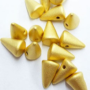 Χάντρα Baby Spikes Satin Gold 24K ~5x8mm - 12τεμ