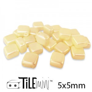 Χάντρα Czech Mini Tile™ - Cream Airy Pearl 5x5mm ~30τεμ