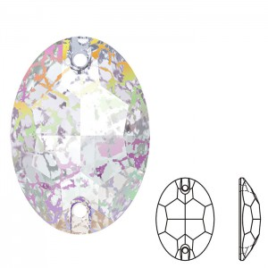 Swarovski 3210 Sew-On Oval Crystal White Patina 10x7mm - 2τεμ
